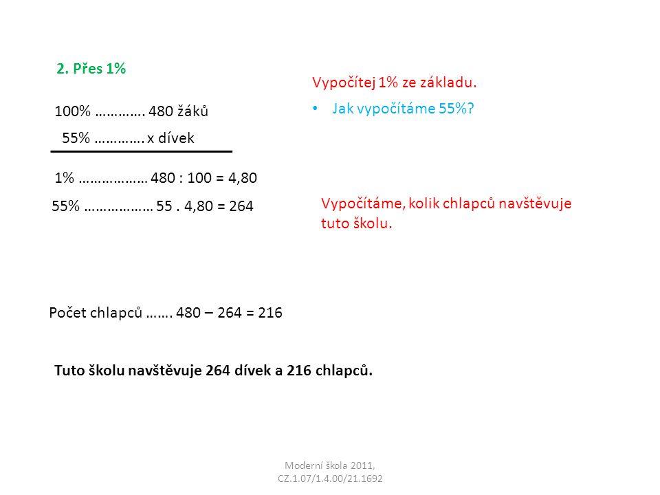 Moderní škola 2011, CZ.1.07/1.4.00/21.1692 2. Přes 1% 100% ………….