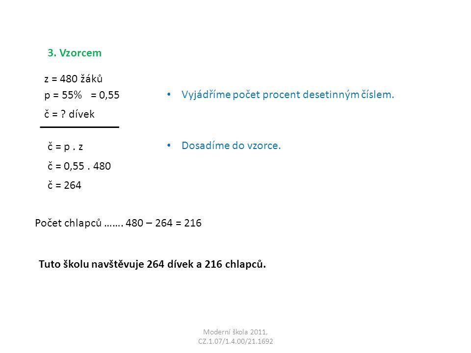 Moderní škola 2011, CZ.1.07/1.4.00/21.1692 3. Vzorcem Dosadíme do vzorce.
