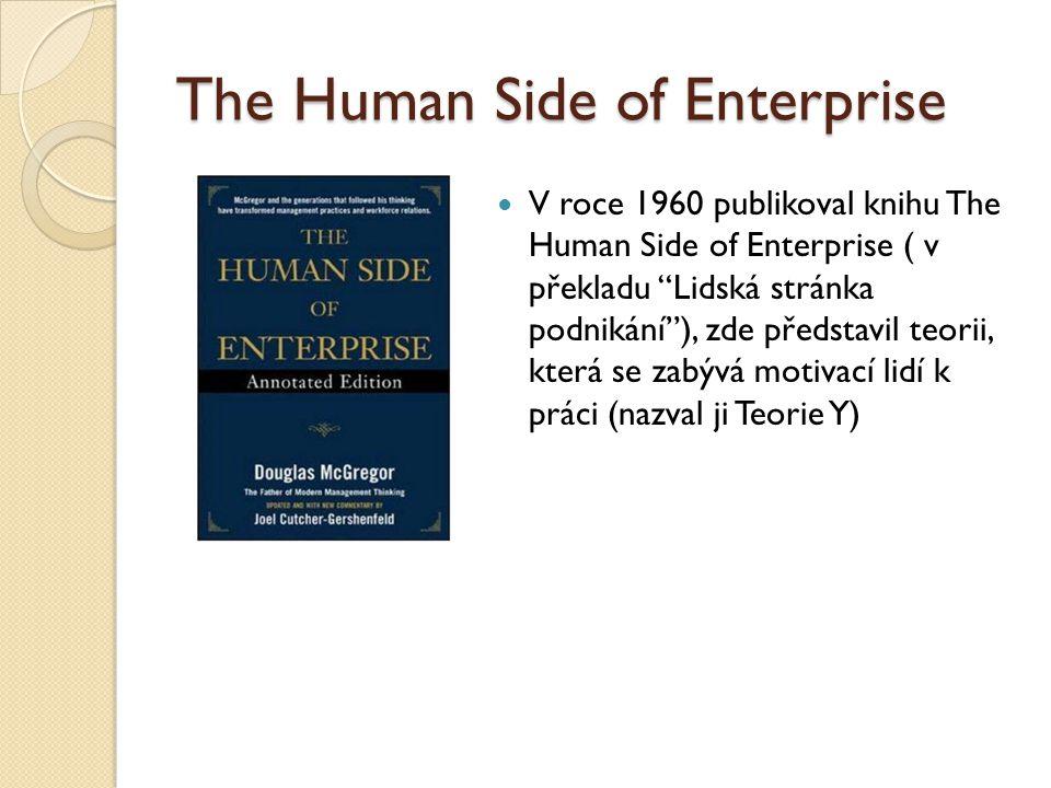 """The Human Side of Enterprise V roce 1960 publikoval knihu The Human Side of Enterprise ( v překladu """"Lidská stránka podnikání""""), zde představil teorii"""