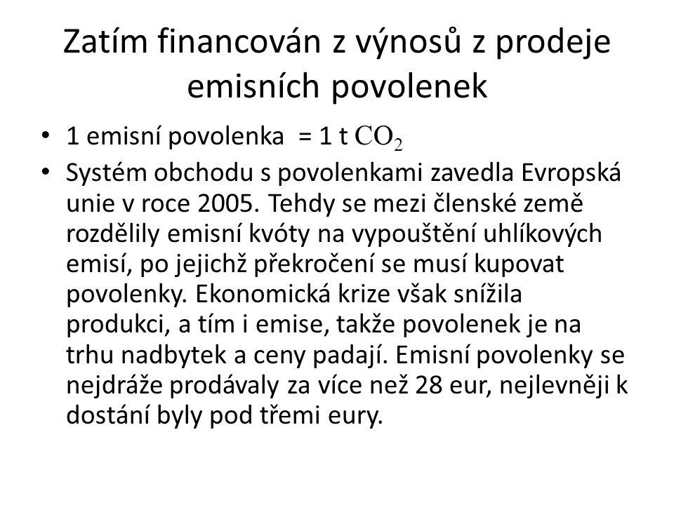 Zatím financován z výnosů z prodeje emisních povolenek 1 emisní povolenka = 1 t CO 2 Systém obchodu s povolenkami zavedla Evropská unie v roce 2005. T
