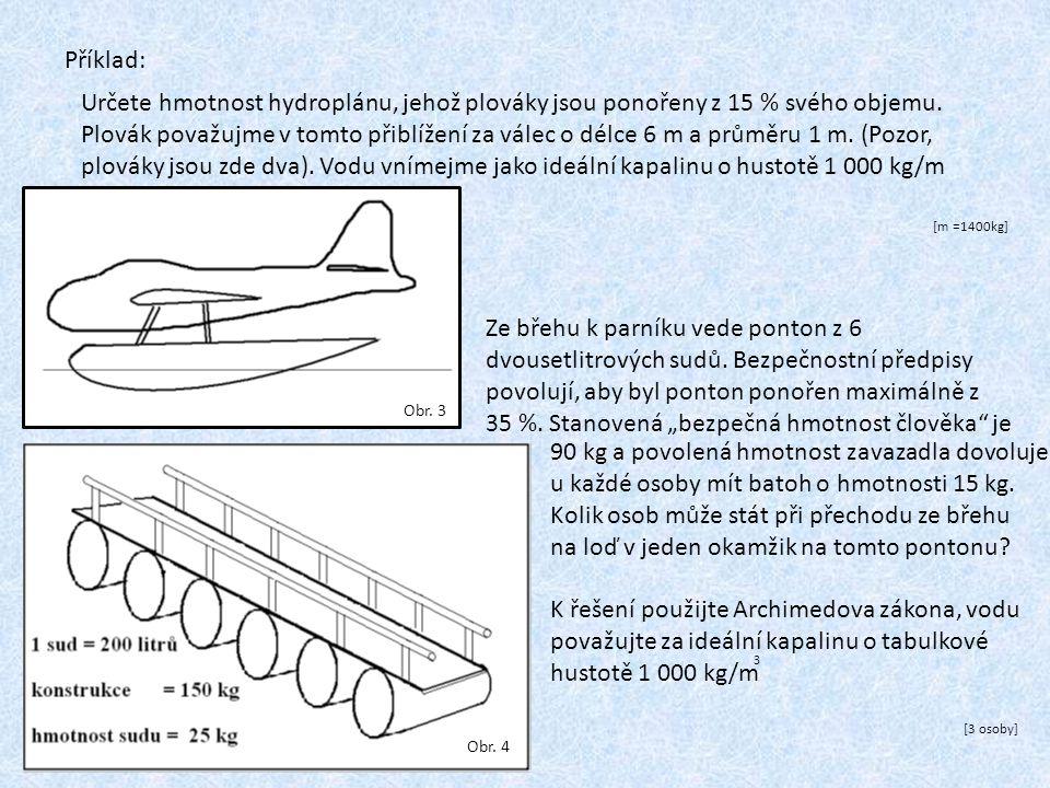 Příklad: Určete hmotnost hydroplánu, jehož plováky jsou ponořeny z 15 % svého objemu. Plovák považujme v tomto přiblížení za válec o délce 6 m a průmě