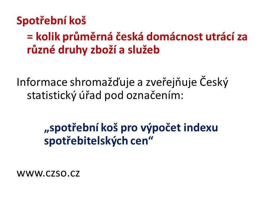 """Spotřební koš = kolik průměrná česká domácnost utrácí za různé druhy zboží a služeb Informace shromažďuje a zveřejňuje Český statistický úřad pod označením: """"spotřební koš pro výpočet indexu spotřebitelských cen www.czso.cz"""