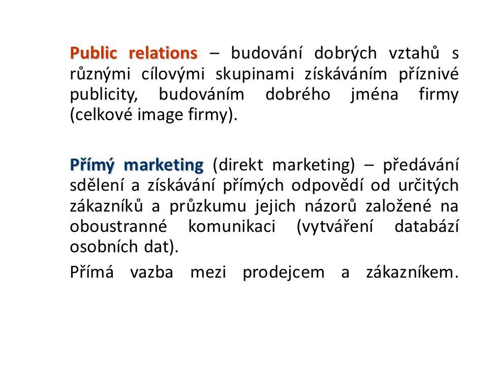 Public relations Public relations – budování dobrých vztahů s různými cílovými skupinami získáváním příznivé publicity, budováním dobrého jména firmy (celkové image firmy).