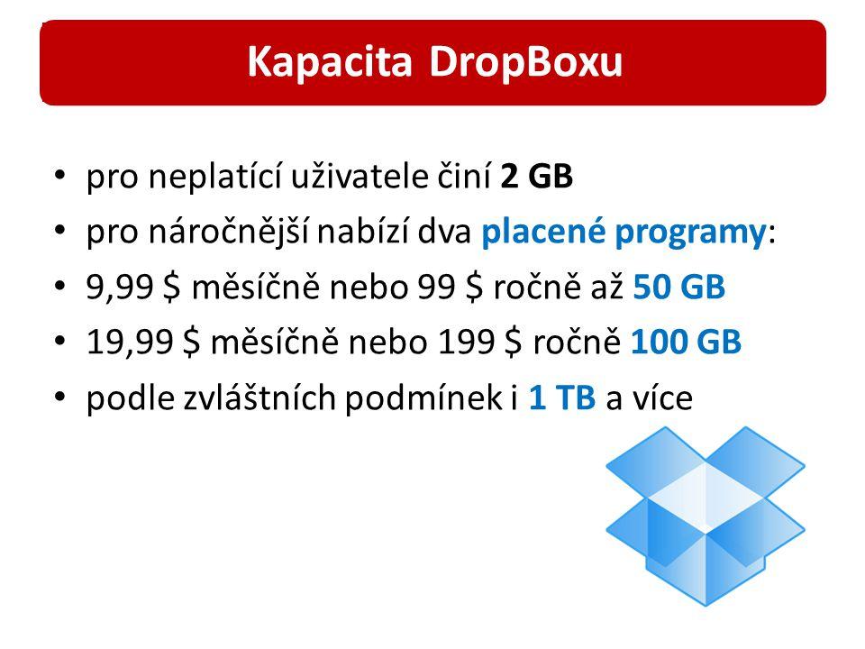 pro neplatící uživatele činí 2 GB pro náročnější nabízí dva placené programy: 9,99 $ měsíčně nebo 99 $ ročně až 50 GB 19,99 $ měsíčně nebo 199 $ ročně 100 GB podle zvláštních podmínek i 1 TB a více Kapacita DropBoxu