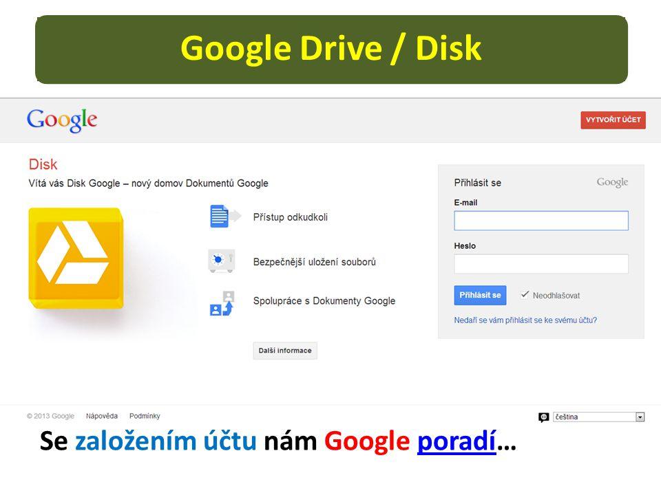 Google Drive / Disk Se založením účtu nám Google poradí…poradí