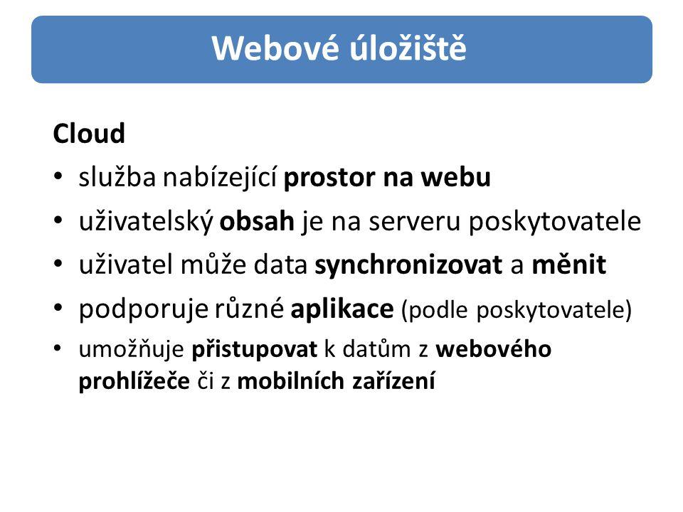 Cloud služba nabízející prostor na webu uživatelský obsah je na serveru poskytovatele uživatel může data synchronizovat a měnit podporuje různé aplikace (podle poskytovatele) umožňuje přistupovat k datům z webového prohlížeče či z mobilních zařízení Webové úložiště