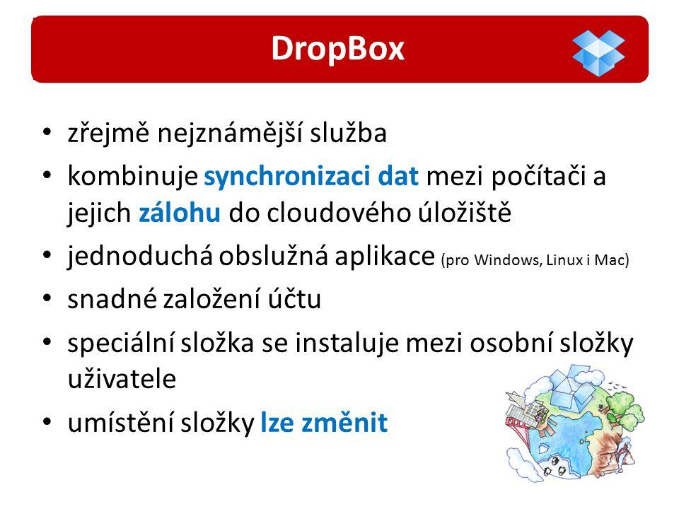 zřejmě nejznámější služba kombinuje synchronizaci dat mezi počítači a jejich zálohu do cloudového úložiště jednoduchá obslužná aplikace (pro Windows, Linux i Mac) snadné založení účtu speciální složka se instaluje mezi osobní složky uživatele umístění složky lze změnit DropBox