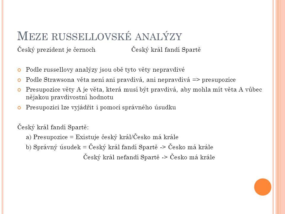 M EZE RUSSELLOVSKÉ ANALÝZY Český prezident je černochČeský král fandí Spartě Podle russellovy analýzy jsou obě tyto věty nepravdivé Podle Strawsona věta není ani pravdivá, ani nepravdivá => presupozice Presupozice věty A je věta, která musí být pravdivá, aby mohla mít věta A vůbec nějakou pravdivostní hodnotu Presupozici lze vyjádřit i pomocí správného úsudku Český král fandí Spartě: a) Presupozice = Existuje český král/Česko má krále b) Správný úsudek = Český král fandí Spartě -> Česko má krále Český král nefandí Spartě -> Česko má krále