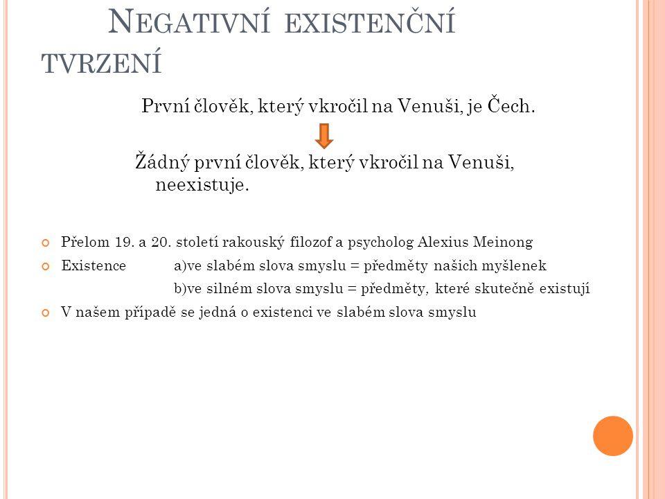 N EGATIVNÍ EXISTENČNÍ TVRZENÍ První člověk, který vkročil na Venuši, je Čech. Žádný první člověk, který vkročil na Venuši, neexistuje. Přelom 19. a 20