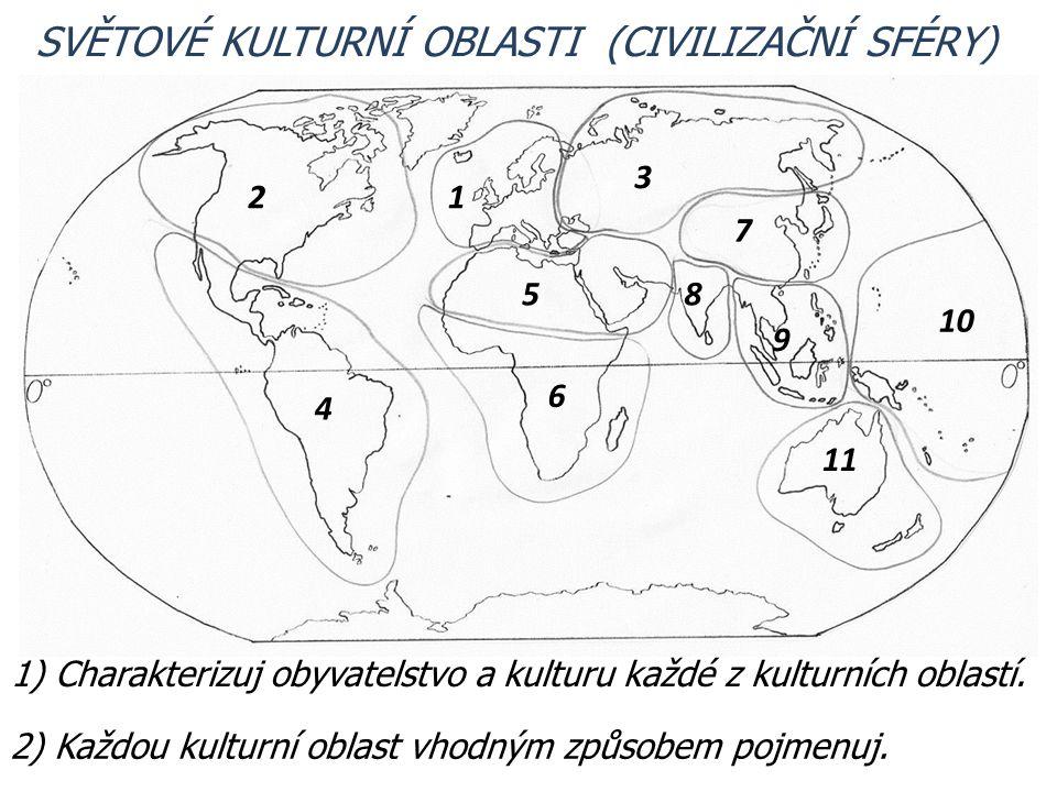 SVĚTOVÉ KULTURNÍ OBLASTI (CIVILIZAČNÍ SFÉRY) 1) Charakterizuj obyvatelstvo a kulturu každé z kulturních oblastí. 2) Každou kulturní oblast vhodným způ