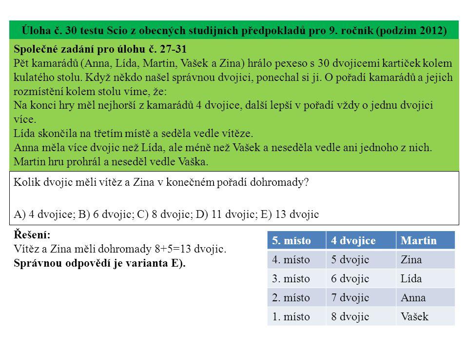 Úloha č. 30 testu Scio z obecných studijních předpokladů pro 9.