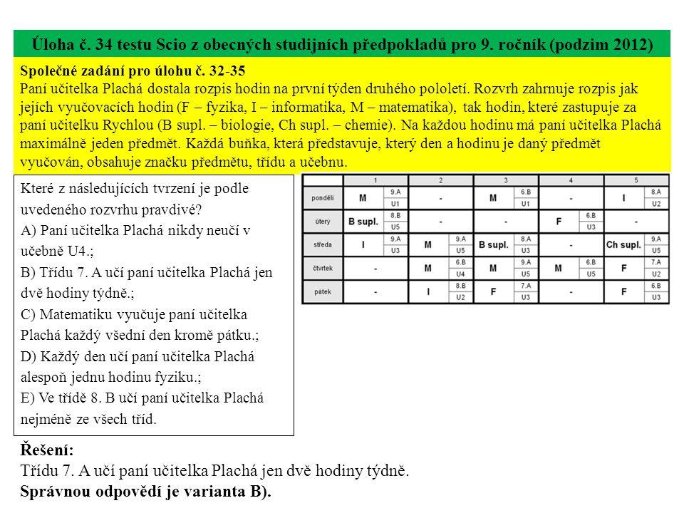 Úloha č. 34 testu Scio z obecných studijních předpokladů pro 9.