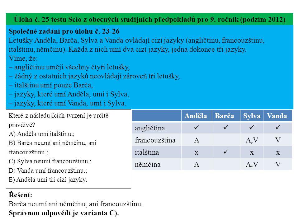 Úloha č. 25 testu Scio z obecných studijních předpokladů pro 9.
