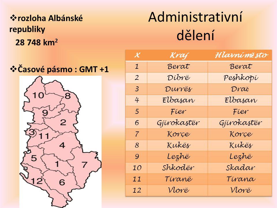 Administrativní dělení  rozloha Albánské republiky 28 748 km 2  Časové pásmo : GMT +1