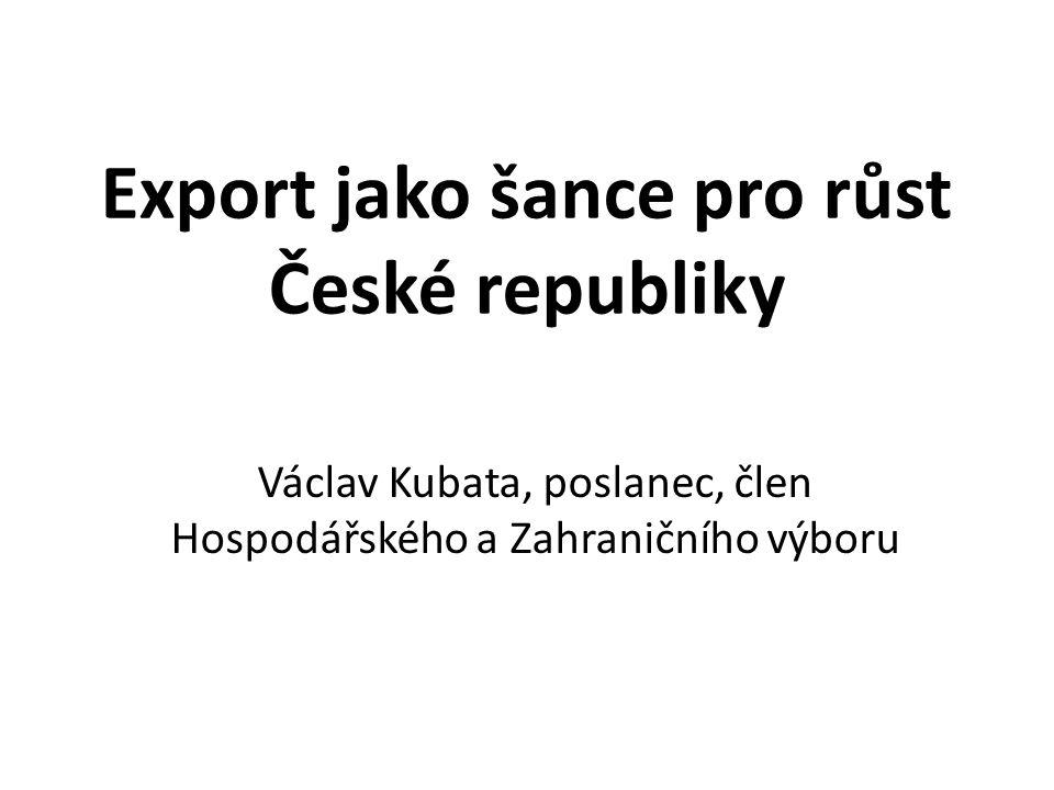 Export jako šance pro růst České republiky Václav Kubata, poslanec, člen Hospodářského a Zahraničního výboru