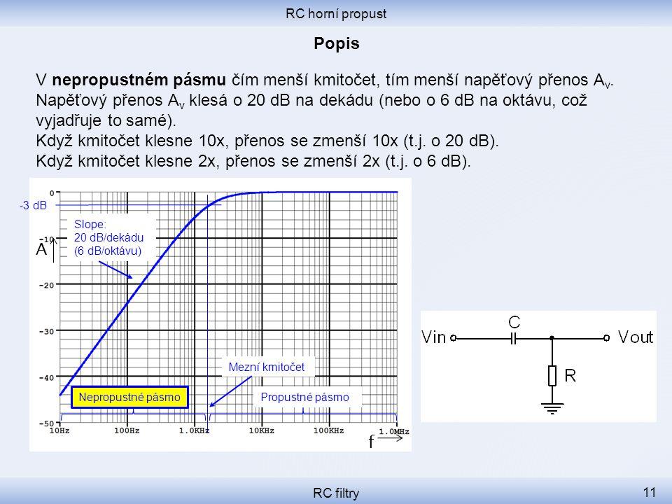 RC horní propust RC filtry 11 V nepropustném pásmu čím menší kmitočet, tím menší napěťový přenos A v.