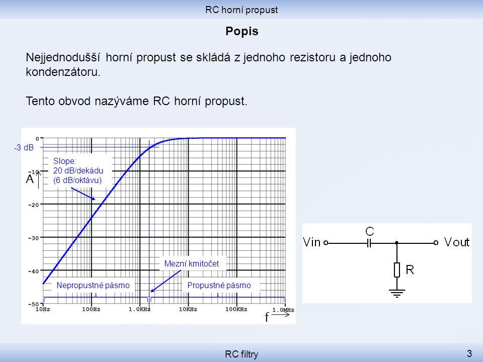 RC horní propust RC filtry 14 Mezní kmitočet obvodu je 1 592 Hz.