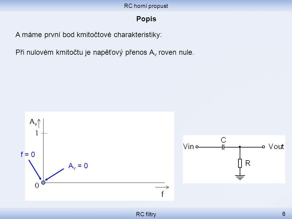 RC horní propust RC filtry 6 A máme první bod kmitočtové charakteristiky: Při nulovém kmitočtu je napěťový přenos A v roven nule.