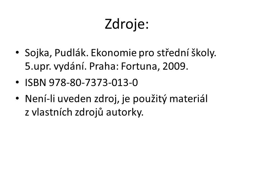 Zdroje: Sojka, Pudlák. Ekonomie pro střední školy.