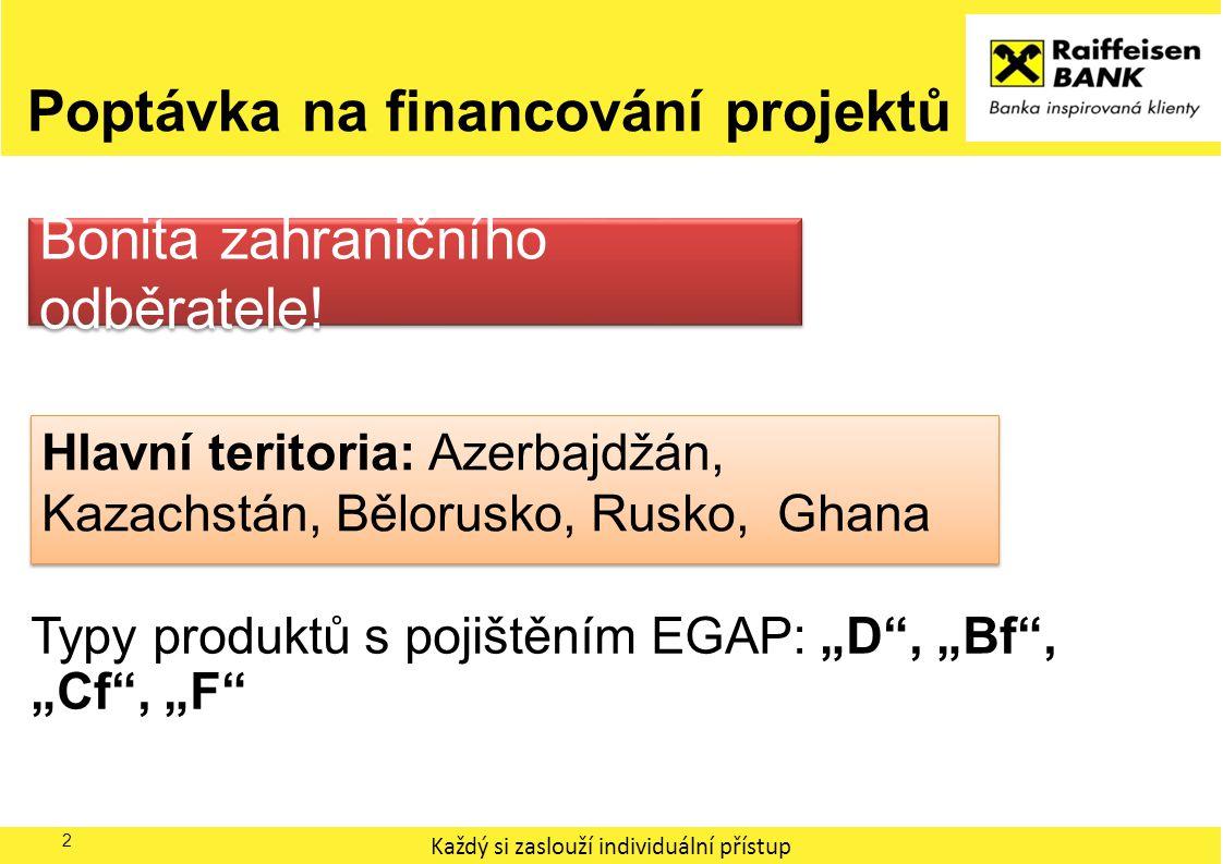 """Každý si zaslouží individuální přístup Poptávka na financování projektů 2 Typy produktů s pojištěním EGAP: """"D"""", """"Bf"""", """"Cf"""", """"F"""" Hlavní teritoria: Azer"""