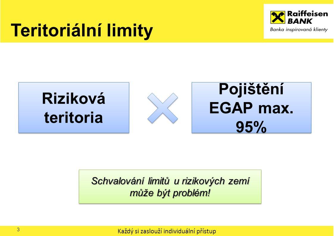 Každý si zaslouží individuální přístup Teritoriální limity 3 Riziková teritoria Pojištění EGAP max. 95% Schvalování limitů u rizikových zemí může být