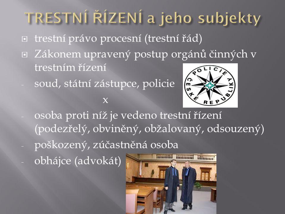  trestní právo procesní (trestní řád)  Zákonem upravený postup orgánů činných v trestním řízení - soud, státní zástupce, policie x - osoba proti níž je vedeno trestní řízení (podezřelý, obviněný, obžalovaný, odsouzený) - poškozený, zúčastněná osoba - obhájce (advokát)