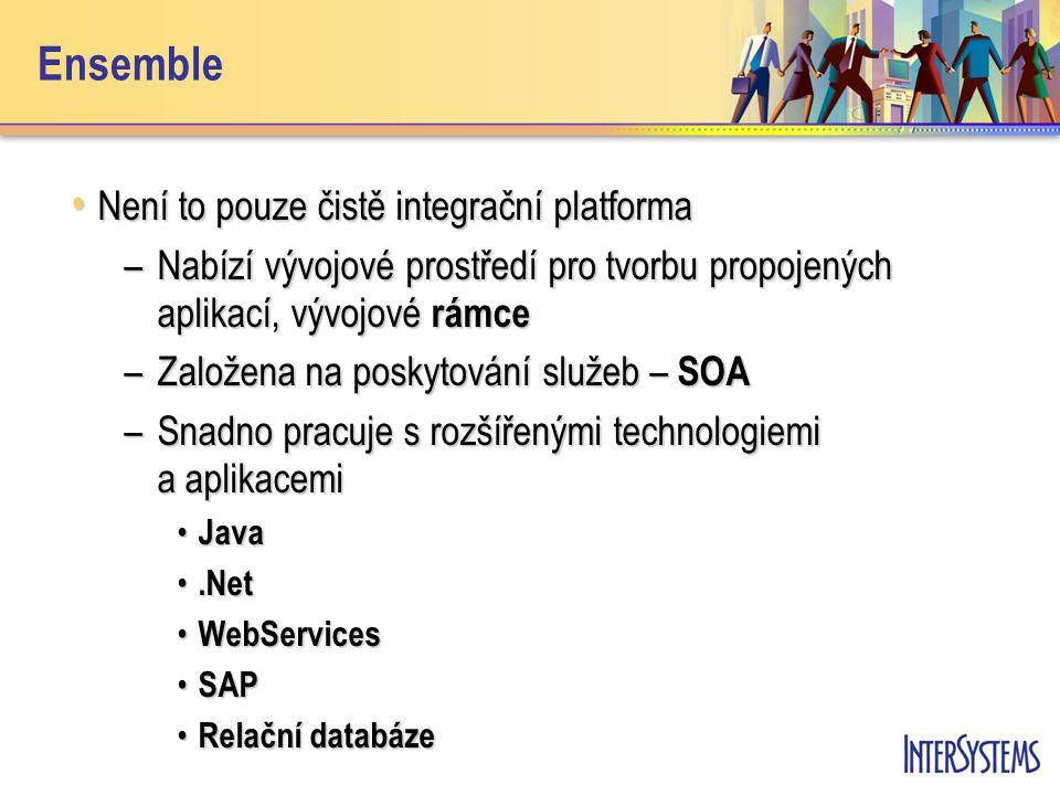 Ensemble Není to pouze čistě integrační platforma Není to pouze čistě integrační platforma –Nabízí vývojové prostředí pro tvorbu propojených aplikací, vývojové rámce –Založena na poskytování služeb – SOA –Snadno pracuje s rozšířenými technologiemi a aplikacemi Java Java.Net.Net WebServices WebServices SAP SAP Relační databáze Relační databáze