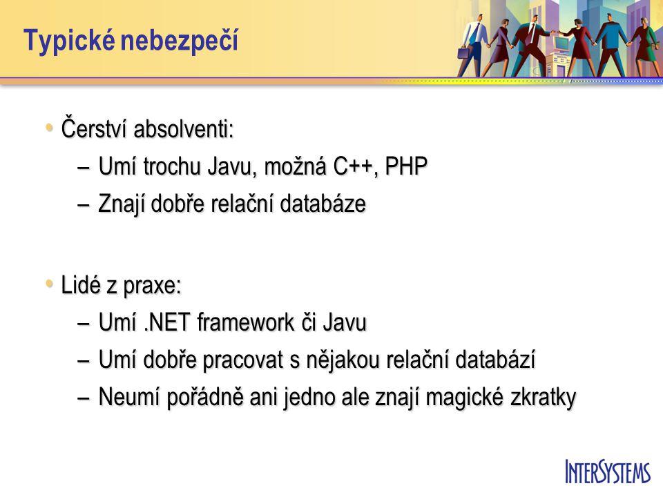 Typické nebezpečí Čerství absolventi: Čerství absolventi: –Umí trochu Javu, možná C++, PHP –Znají dobře relační databáze Lidé z praxe: Lidé z praxe: –Umí.NET framework či Javu –Umí dobře pracovat s nějakou relační databází –Neumí pořádně ani jedno ale znají magické zkratky