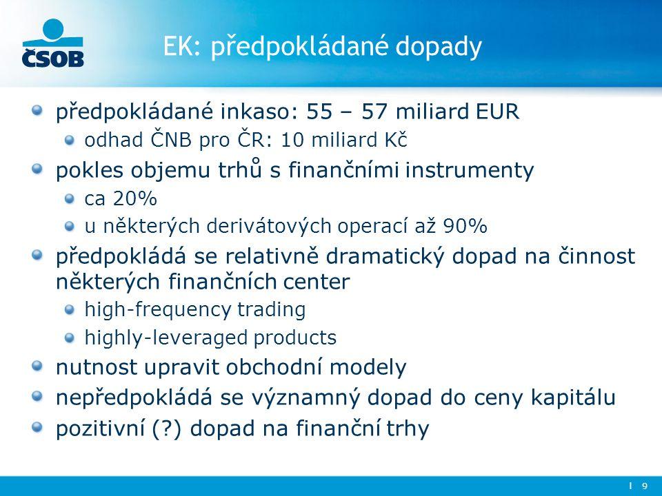 EK: předpokládané dopady předpokládané inkaso: 55 – 57 miliard EUR odhad ČNB pro ČR: 10 miliard Kč pokles objemu trhů s finančními instrumenty ca 20% u některých derivátových operací až 90% předpokládá se relativně dramatický dopad na činnost některých finančních center high-frequency trading highly-leveraged products nutnost upravit obchodní modely nepředpokládá se významný dopad do ceny kapitálu pozitivní ( ) dopad na finanční trhy l 9