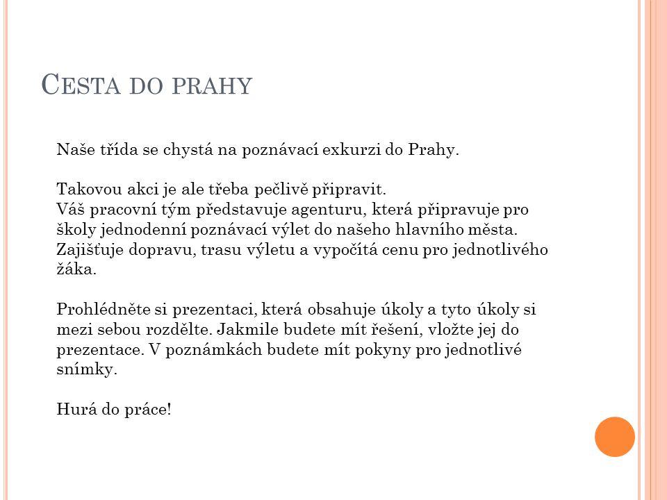 C ESTA DO PRAHY Naše třída se chystá na poznávací exkurzi do Prahy.