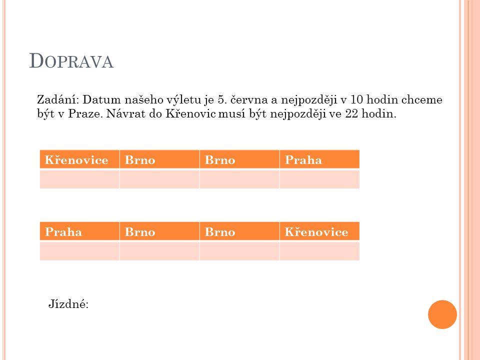 D OPRAVA Zadání: Datum našeho výletu je 5. června a nejpozději v 10 hodin chceme být v Praze.