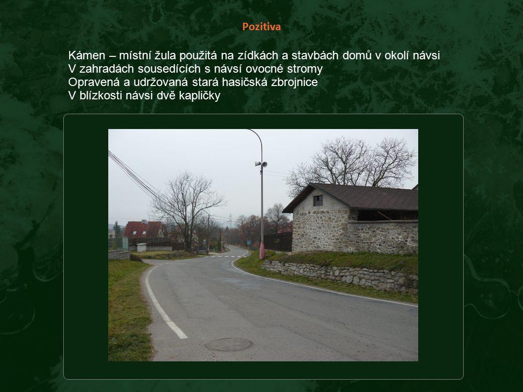 Pozitiva Kámen – místní žula použitá na zídkách a stavbách domů v okolí návsi V zahradách sousedících s návsí ovocné stromy Opravená a udržovaná stará hasičská zbrojnice V blízkosti návsi dvě kapličky