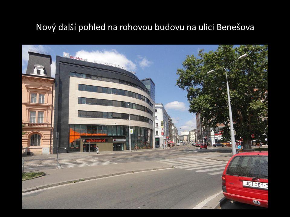Zajímavá rohová budova na konci ulice Orlí 38 a začínající ulice Benešova