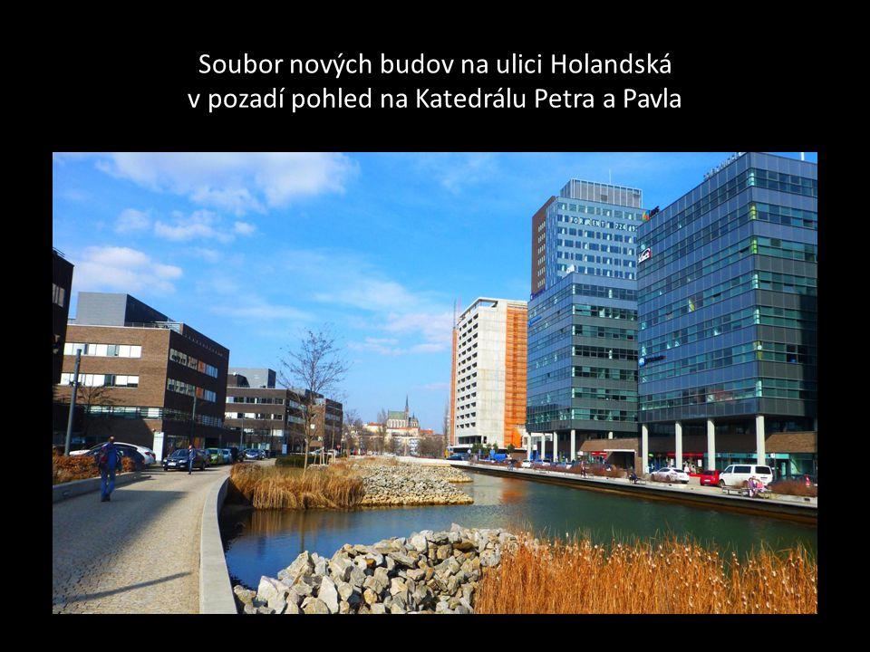 Soubor nových budov na ulici Holandská v pozadí pohled na Katedrálu Petra a Pavla