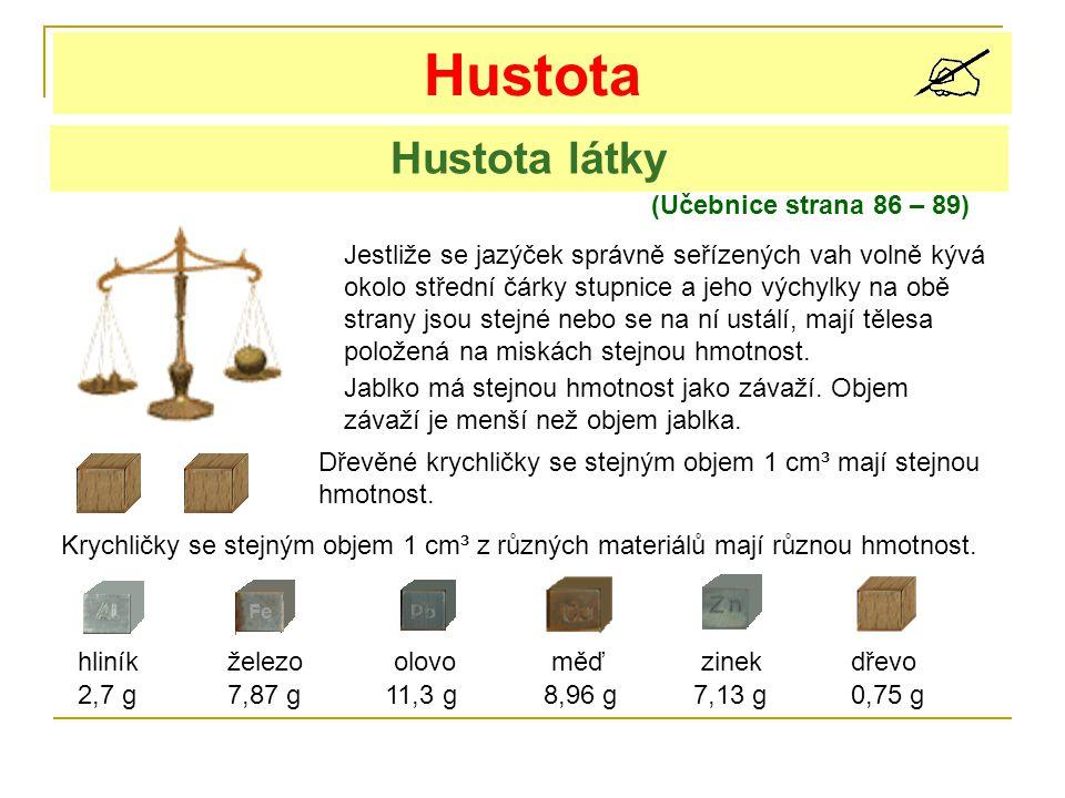 Hustota (Učebnice strana 86 – 89) Hustota látky Jestliže se jazýček správně seřízených vah volně kývá okolo střední čárky stupnice a jeho výchylky na obě strany jsou stejné nebo se na ní ustálí, mají tělesa položená na miskách stejnou hmotnost.