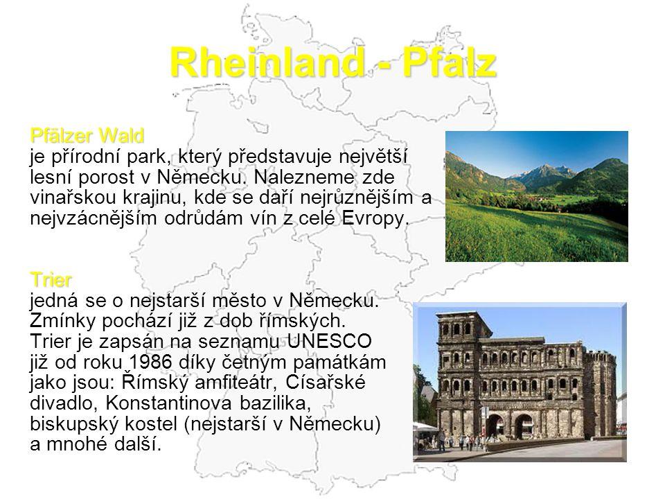 Rheinland - Pfalz Pfälzer Wald je přírodní park, který představuje největší lesní porost v Německu. Nalezneme zde vinařskou krajinu, kde se daří nejrů