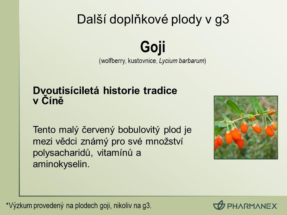 *Výzkum provedený na plodech goji, nikoliv na g3. Dvoutisíciletá historie tradice v Číně Tento malý červený bobulovitý plod je mezi vědci známý pro sv