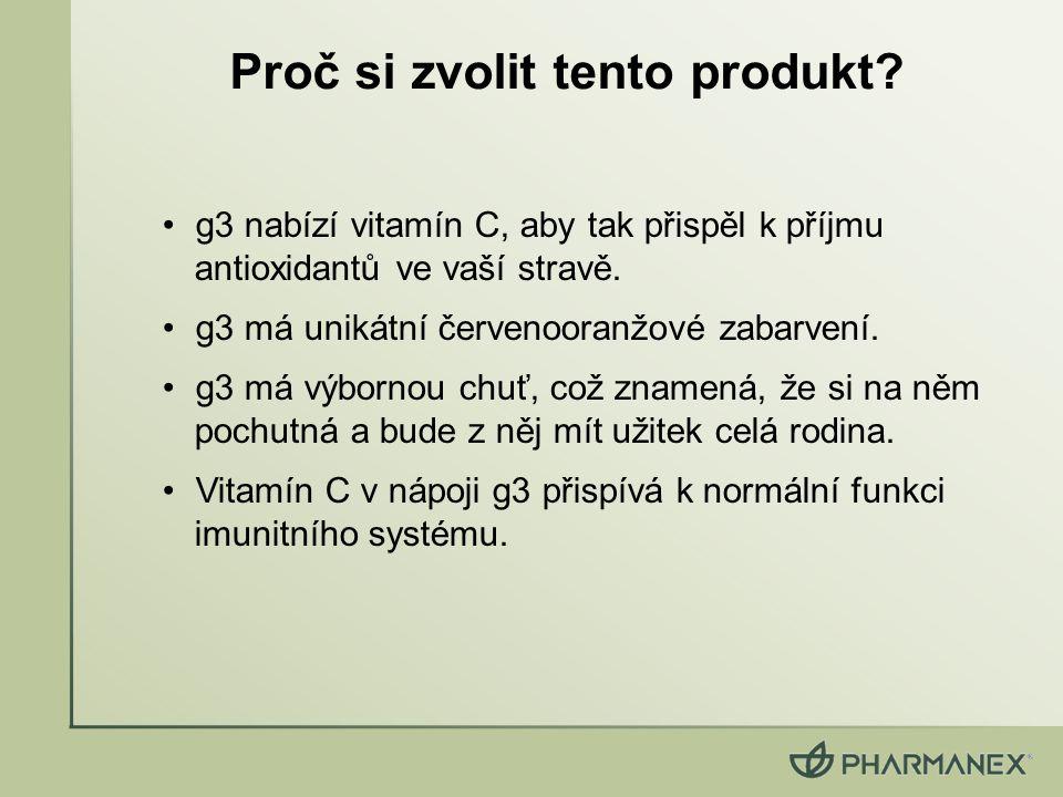 g3 nabízí vitamín C, aby tak přispěl k příjmu antioxidantů ve vaší stravě. g3 má unikátní červenooranžové zabarvení. g3 má výbornou chuť, což znamená,