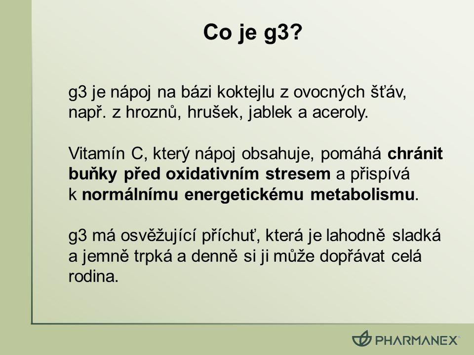Co je g3? g3 je nápoj na bázi koktejlu z ovocných šťáv, např. z hroznů, hrušek, jablek a aceroly. Vitamín C, který nápoj obsahuje, pomáhá chránit buňk