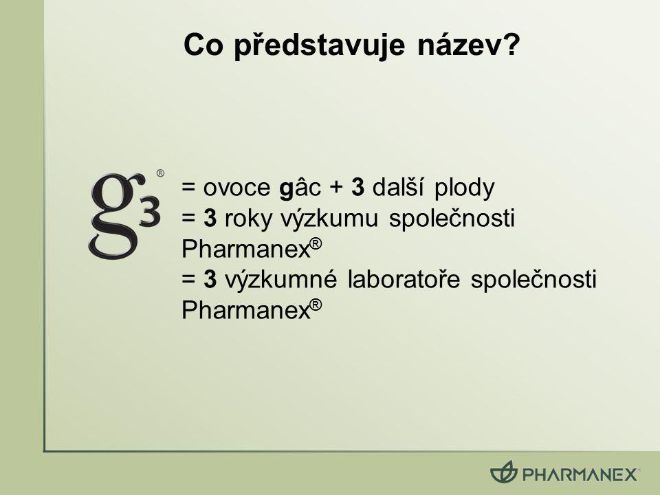 = ovoce gâc + 3 další plody = 3 roky výzkumu společnosti Pharmanex ® = 3 výzkumné laboratoře společnosti Pharmanex ® Co představuje název?