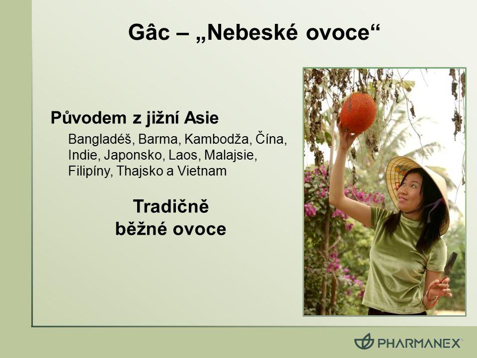 """Gâc – """"Nebeské ovoce"""" Původem z jižní Asie Bangladéš, Barma, Kambodža, Čína, Indie, Japonsko, Laos, Malajsie, Filipíny, Thajsko a Vietnam Tradičně běž"""
