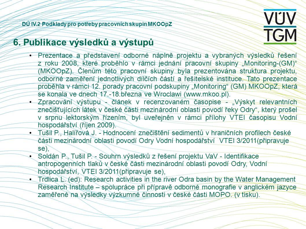 DÚ IV.2 Podklady pro potřeby pracovních skupin MKOOpZ 6. Publikace výsledků a výstupů Prezentace a představení odborné náplně projektu a vybraných výs