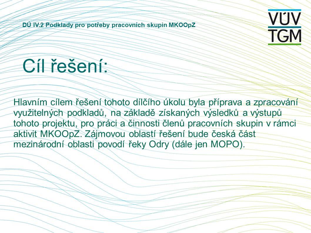 DÚ IV.2 Podklady pro potřeby pracovních skupin MKOOpZ Cíl řešení: Hlavním cílem řešení tohoto dílčího úkolu byla příprava a zpracování využitelných podkladů, na základě získaných výsledků a výstupů tohoto projektu, pro práci a činnosti členů pracovních skupin v rámci aktivit MKOOpZ.