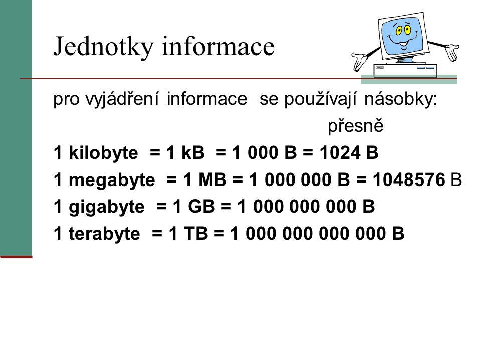 Jednotky informace pro vyjádření informace se používají násobky: přesně 1 kilobyte = 1 kB = 1 000 B = 1024 B 1 megabyte = 1 MB = 1 000 000 B = 1048576 B 1 gigabyte = 1 GB = 1 000 000 000 B 1 terabyte = 1 TB = 1 000 000 000 000 B