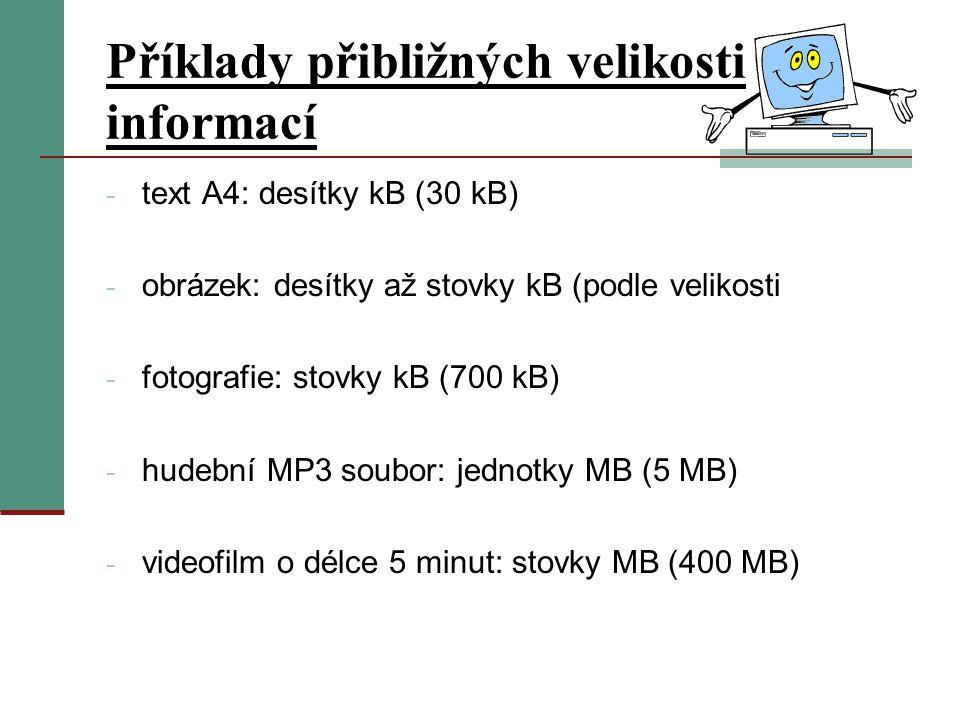 Příklady přibližných velikosti informací - text A4: desítky kB (30 kB) - obrázek: desítky až stovky kB (podle velikosti - fotografie: stovky kB (700 kB) - hudební MP3 soubor: jednotky MB (5 MB) - videofilm o délce 5 minut: stovky MB (400 MB)