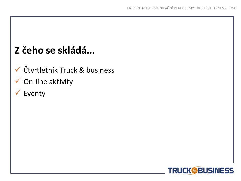 Časopis TRUCK & BUSINESS V ČR od roku 2006 Licenční zázemí (Truck & Business Belgie) Zrcadlo odvětví Spoluvytváří veřejné mínění Určen pro majitele, majitele a strategické řídící pracovníky PREZENTACE KOMUNIKAČNÍ PLATFORMY TRUCK & BUSINESS 4/10