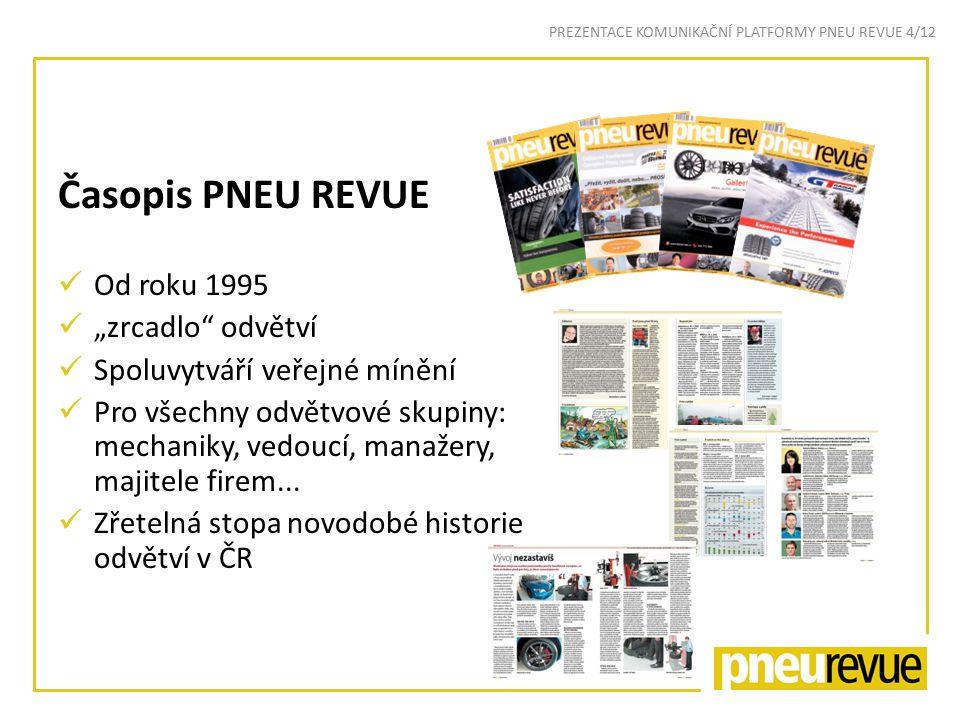"""Časopis PNEU REVUE Od roku 1995 """"zrcadlo odvětví Spoluvytváří veřejné mínění Pro všechny odvětvové skupiny: mechaniky, vedoucí, manažery, majitele firem..."""