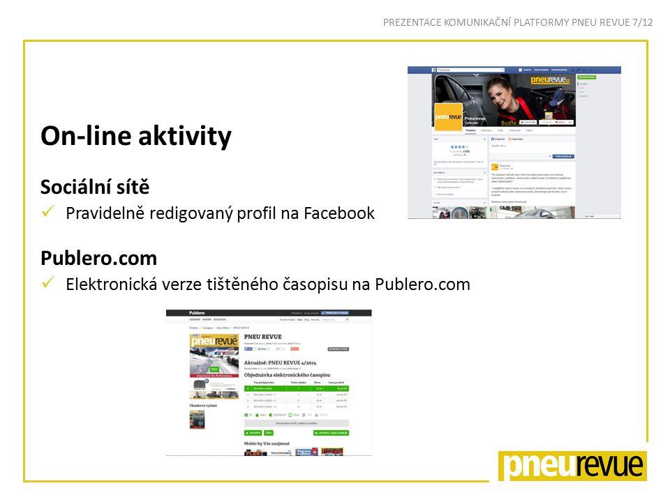 On-line aktivity Sociální sítě Pravidelně redigovaný profil na Facebook Publero.com Elektronická verze tištěného časopisu na Publero.com PREZENTACE KOMUNIKAČNÍ PLATFORMY PNEU REVUE 7/12