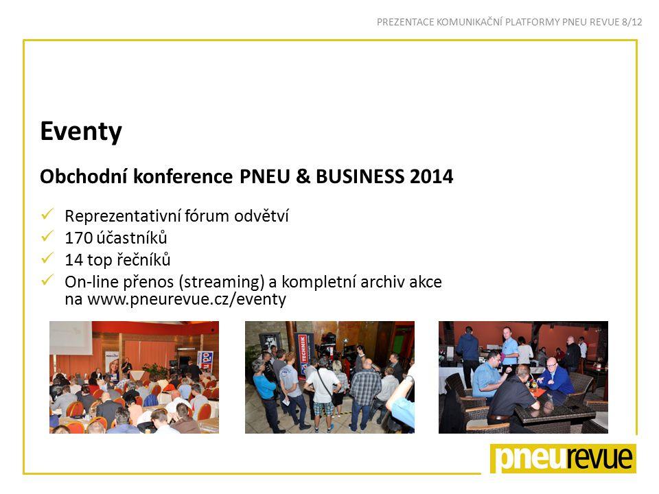 Eventy Obchodní konference PNEU & BUSINESS 2014 Reprezentativní fórum odvětví 170 účastníků 14 top řečníků On-line přenos (streaming) a kompletní archiv akce na www.pneurevue.cz/eventy PREZENTACE KOMUNIKAČNÍ PLATFORMY PNEU REVUE 8/12