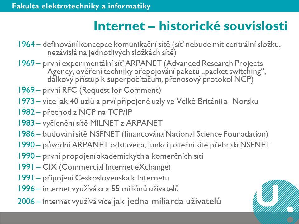 """Internet – historické souvislosti 1964 – definování koncepce komunikační sítě (síť nebude mít centrální složku, nezávislá na jednotlivých složkách sítě) 1969 – první experimentální síť ARPANET (Advanced Research Projects Agency, ověření techniky přepojování paketů """"packet switching , dálkový přístup k superpočítačum, přenosový protokol NCP) 1969 – první RFC (Request for Comment) 1973 – více jak 40 uzlů a prví připojené uzly ve Velké Británii a Norsku 1982 – přechod z NCP na TCP/IP 1983 – vyčlenění sítě MILNET z ARPANET 1986 – budování sítě NSFNET (financována National Science Founadation) 1990 – původní ARPANET odstavena, funkci páteřní sítě přebrala NSFNET 1990 – první propojení akademických a komerčních sítí 1991 – CIX (Commercial Internet eXchange) 1991 – připojení Československa k Internetu 1996 – internet využívá cca 55 miliónů uživatelů 2006 – internet využívá více jak jedna miliarda uživatelů"""